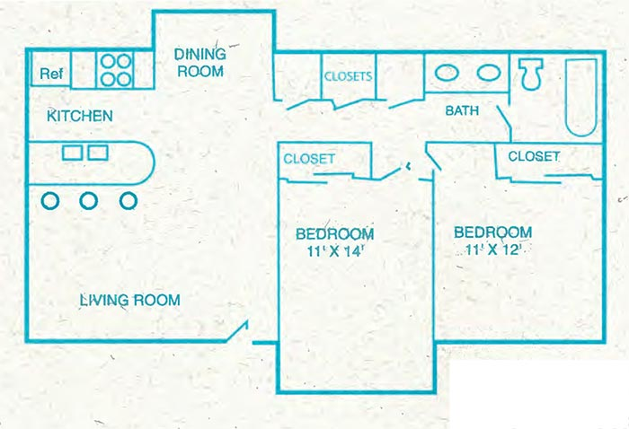 Floor plan of 2 bedroom 1 bathroom flat. bedrooms are 11 by 12 and 11 by 14 square feet.