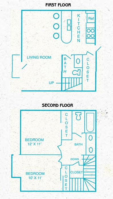 Townhouse floorplan has 2 bedrooms full bath upstairs, bedrooms 12 by 11 and 10 by 11 square feet.