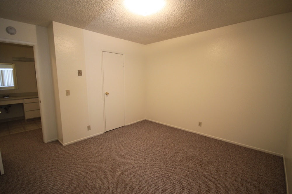 Bedroom With Carpet, Small Walk In Closet, And Doorway To Bathroom With Single Sink And Window