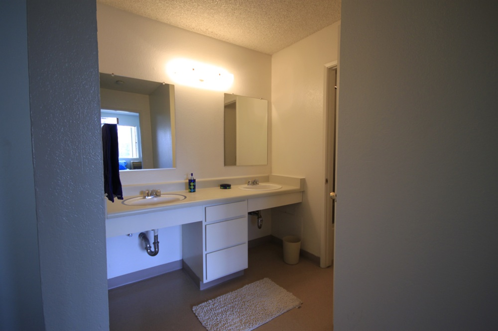 Bathroom With Double Vanity 2 Sinks Side By Side, Separate Door Leads To The Toilet And Tub Area